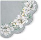 【PAW】バラ売り1枚 ラウンド ペーパーナプキン WHITE POINSETTIA パールシルバー