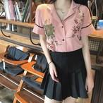 【新作10%off】embroidery floral pink shirts 2310