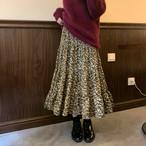 ビンテージフラワーフレアロングスカート 花柄スカート フレアスカート ロングスカート 韓国ファッション
