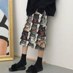 【bottoms】プリントカジュアルハイウエスト膝下丈Aラインスカート12871551
