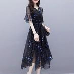【dress】エレガントAライン半袖プリントデートワンピース
