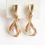 gold & pearl dangle earring[e-956]