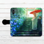 #078-002 手帳型iPhoneケース 手帳型スマホケース 全機種対応 iPhoneXs/X おしゃれ 和風 Xperia iPhone5/6/6s/7/8 かわいい 和柄 Galaxy ARROWS AQUOS HUAWEI Zenfone タイトル:狐の嫁入り日和 作:romiy