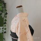 正絹 薄桜に花亀甲の総柄小紋 袷