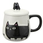 バラエティカップ(クロ)【黒猫 猫柄 フタ付き コップ】