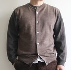 STILL BY HAND  【 mens 】bi- color crew neck cardigan