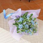 【送料無料】花言葉は『幸福な愛』♡ミニ七夕飾り入りブルースターブーケ<花びん付き>