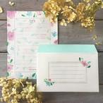 レターセット【便箋10枚・封筒5枚】ピンク&ブルーフラワー