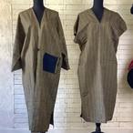 カラフルな縦縞模様が印象的 絹100%アンサンブル(コート&ワンピース) 20AS012