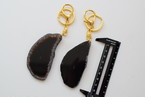 Agate slice key holder −Black−