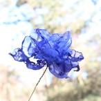【造花】ブルーオーガンジーのアートフラワー|ネイビー