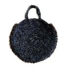 ブルーグレーのファーヤーンをたくさん使ったグルグルBAG circle bag
