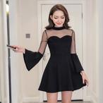 シアースリーブドレス 大きいサイズ ドレス ワンピース フレア袖 透け感 ミニ丈 Aライン 大人 セクシー パーティー イベント