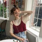 【送料無料】 かわいい花柄トップス♡ シフォンシャツ + ニット フラワー ビスチェ 2点セット レトロ