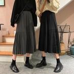 【送料無料 】2段 プリーツ ♡ 大人可愛い カジュアル フレア Aライン ロング丈 ミモレ丈 スカート