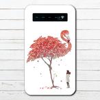 #081-025 モバイルバッテリー フラミンゴ かわいい おしゃれ 紅葉 iphone スマホ 充電器 タイトル:精霊鳥~Autumingo~ 作:嘉村ギミ