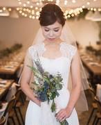 Confetti\ Bride♡コードレースと流れるシフォンのスレンダードレス