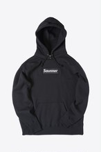 Saunner Box Logo Hooded Sweatshirt - Black/Black Logo