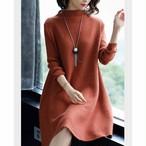 【dress】ゆったりラウンドネックニットワンピース新作ファッション