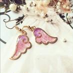ガーリー天使の羽ピンクパープルのピアスorイヤリング