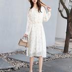 【dress】花柄プリント気質よい清新リボン付きワンピース