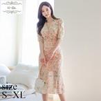 No.1251 韓国ワンピース きれいめワンピース 大人可愛いワンピース フレアワンピース 花柄ワンピース