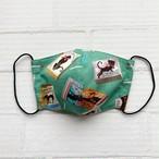 黒猫マスク*レトロなマッチ箱柄【しっとりコラーゲン配合のやわらかマスク】スタンダードタイプ・グリーン