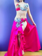 エジプト製 ベリーダンス衣装 ピンク薔薇