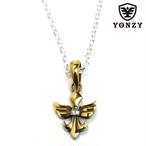 YONZY Phoenix Necklace  Brass small ホワイトトパーズ