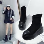 ソックスブーツ 厚底 ショートブーツ ストレッチブーツ ウェッジソール ブラック 22~24.5cm