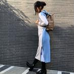 【春セール】裏毛フード付きPRINTロゴ配色ワンピ【 BM04T0101】