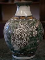 線彫り魚紋の壺 金城陶器秀陶房 やちむん