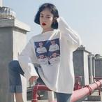 【tops】簡約・シンプルプリント長袖切り替えTシャツ14905045