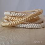 正絹 クリーム色のグラデーションの丸組の帯締め