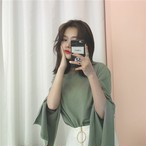【tops】大好評スリット白効かせ無地Tシャツ 22601841