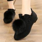【shoes】暖かいポンポン付き履き心地いいフラットシューズ