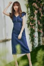 Ruffled Shoulder Denim Midi Dress