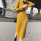 【dress】ハイネックニット美しいライン気質抜群3色ワンピース 22997407