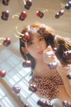 Cherry Pattern Cache-Coeur One-Piece【Mocha / Rosewood】