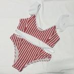 【送料無料◇即納】Bikini♡レッドストライプショルダーフリルビキニ