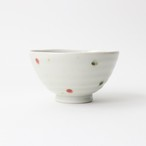 【SL-0072】磁器 11.6cm ご飯茶碗 ドットピンク デザイン2