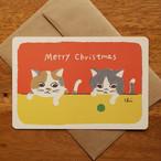 グリーティングカード[クリスマス・ミケとはっちゃん]封筒付き(GTC-C10)
