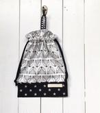 給食袋(マチなし) 北欧風白黒キツネ×ブラック星