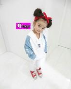 【予約販売】韓国子供服 デニム×スエット パーカー 女の子 キッズ 秋冬