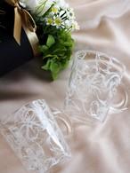 ガラスリボンの耐熱マグカップ(結婚祝い・お誕生日祝い・ティーカップ・コーヒーカップ・ハーブティ・麦茶)