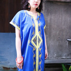 Blue × yellow ethnic onepiece