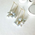 送料無料 14kgf♡Japanese Akoya sea pearl square pierced earring NATURAL SILVER