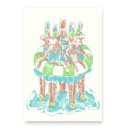 夏のポストカード うさぎの浮き輪