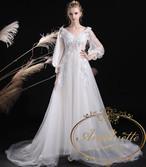 レディース 長袖 シフォン ロングドレス きれいめ ウェディング 結婚式 二次会 清楚系