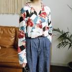 売れ筋 おすすめ 春物 長袖 シフォン シャツ ブラウス 花柄 大柄 襟付き キレイめky3799